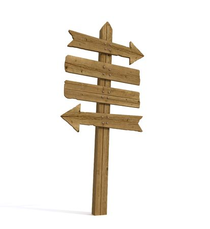 wooden post: Old wooden empty sign post  on white background - rendering Stock Photo