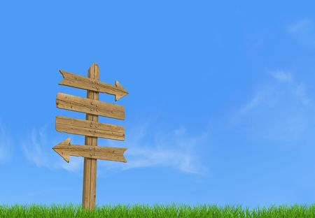 and in direction: Old wooden empty sign post  on sky background - rendering
