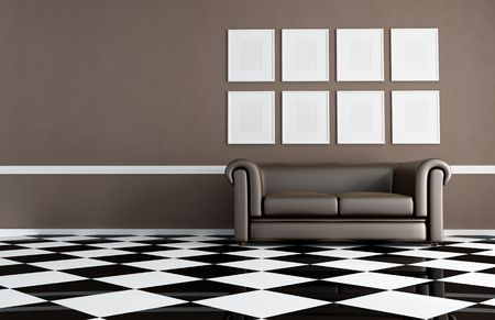 brown living room with chessboard floor and empty frame - rendering Stock Photo