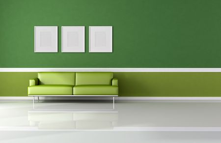 classic living room whith modern sofa and empty frame - rendering Stock Photo - 4797421