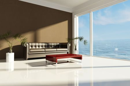 modern sofa: modern beach house with brown classic sofa-rendering Stock Photo