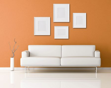 couch: orange modern interior with empty frame-rendering Stock Photo