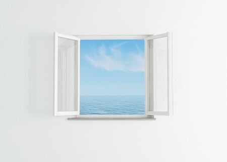 open window: white open window to the blue sky and sea- rendering