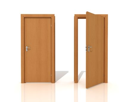 two wooden door isolated on white -rendering Stock Photo