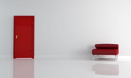 apartment living: empty living room with red door and armchair Stock Photo