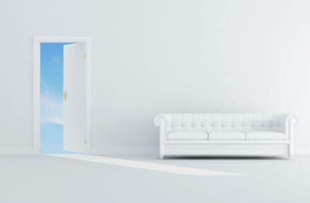 conceptual ,clean sky through the door  with white classic sofa-rendering