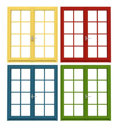 four colored windows isolated on white-rendering Stock Photo
