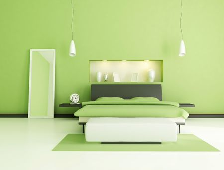 niche: green modern bedroom with niche .rendering Stock Photo