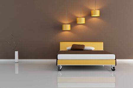 brown and orange modern bedroom -rendering