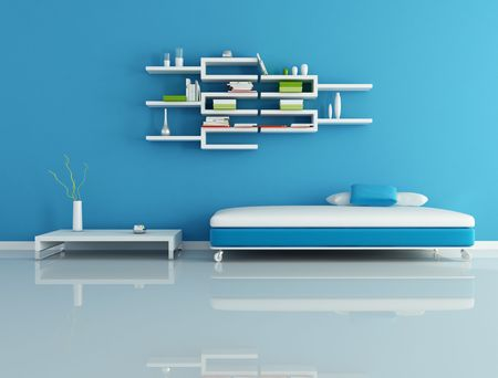 blue and white living room whit white shelves - rendering photo