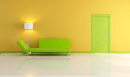 puerta verde: interior de color amarillo con verde y puerta sof� prestaci�n