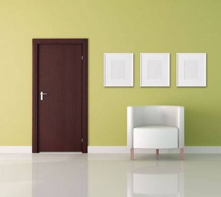 wooden door and white armchair -rendering