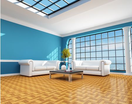 skylight: Classic blue living room of a beach house - rendering