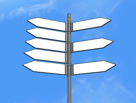 detail of  eight blank directional sign post Stock Photo - 4946786