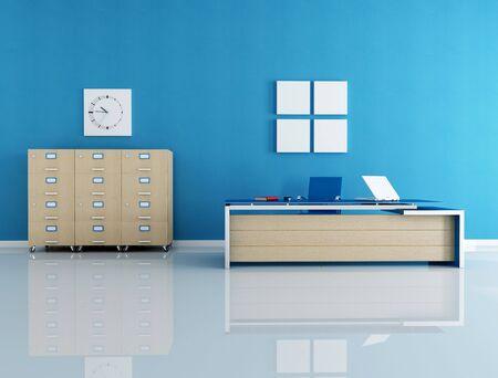 office floor: modern blue office interior - rendering