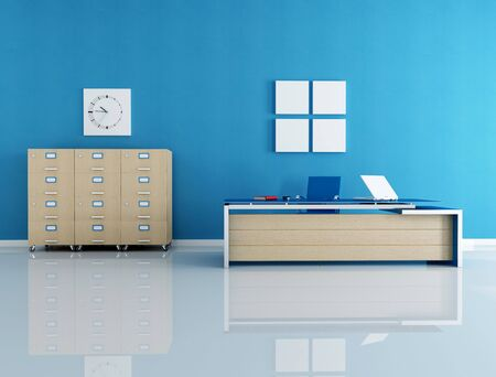 modern blue office interior - rendering