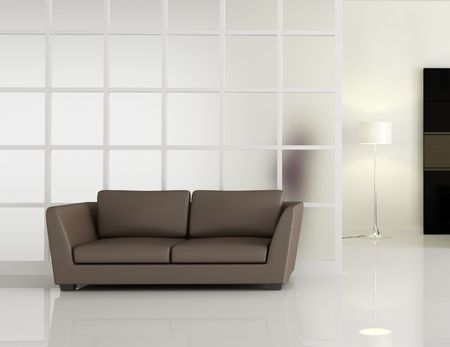 modern interior with brown leathe sofa and window frame -rendering Stock Photo - 4992529