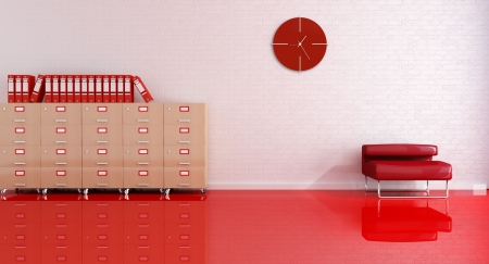 office interior design: reception office room with red armchair and file drawer-rendering