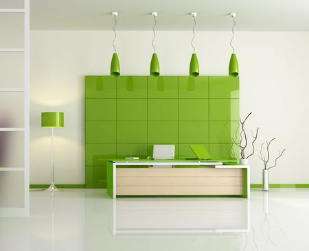 frontal view: frontal view of a modern office - rendering Stock Photo