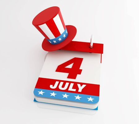 july calendar: fourth of july calendar with uncle Sams hat - rendering Stock Photo