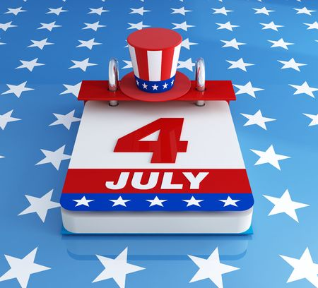 july calendar: fourh of july calendar with uncleSams hat  on starry background- rendering