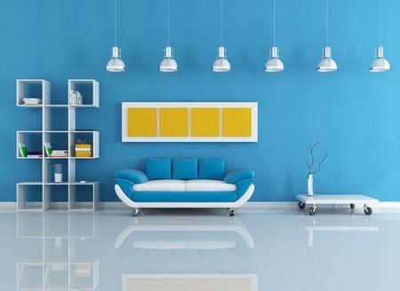 room design: velvet modern couch in blue living room - rendering