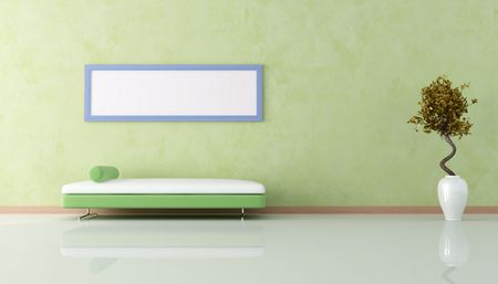 green living room with sofa and empty blue frame Stock Photo - 5082555