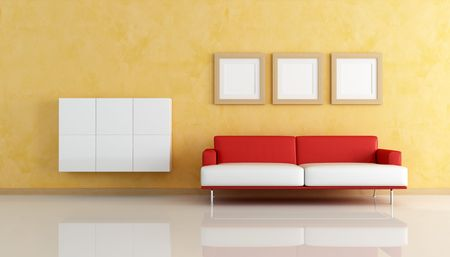 contemporary living room with cabinets, empty frame and white and red sofa - rendering photo