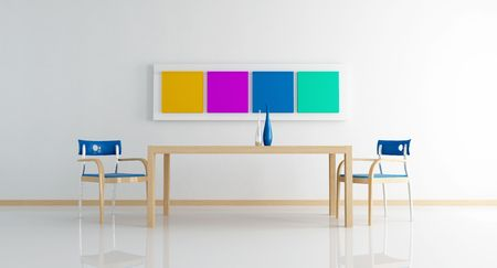 minimal white dining room with colored frame - rendering photo