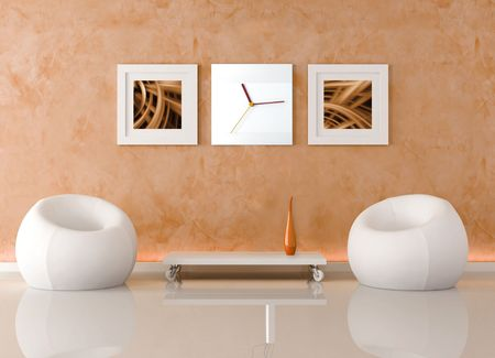 two fashion armchair and table on wheels against orange stucco wall - rendering Stock Photo - 5082557