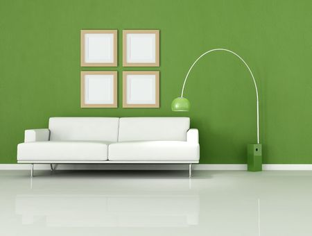 white sofa in a minimal green room photo