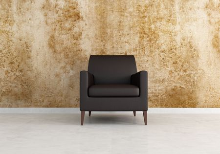 grunge wall and brown leather armchair - rendering Stock Photo - 5131289