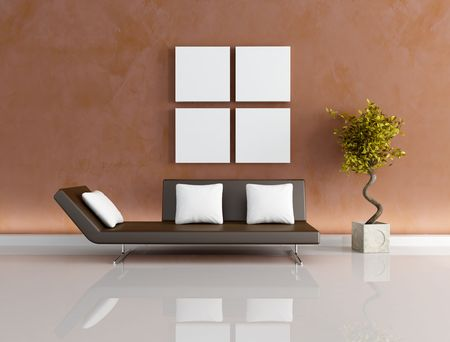 brown couch with white pillows before to a finished up wall in Venetian stucco - rendering Stock Photo - 5131343