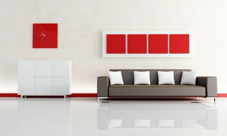red sofa: red and white living room with modern brown sofa - rendering Stock Photo
