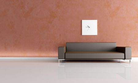 stucco wall: stucco wall and brown couch -rendering