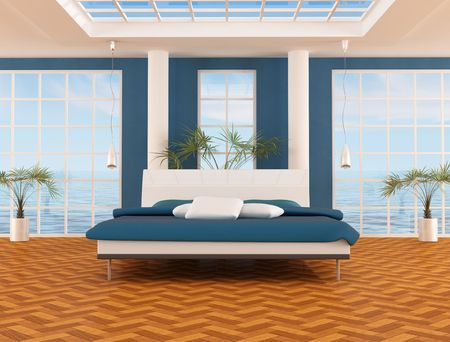 blue bedrom of a beach house - rendering Stock Photo - 5184160