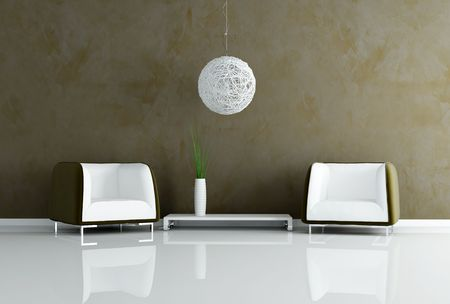two velvet armchair and modern chandelier in a living room Stock Photo - 5184150