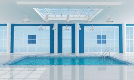 Luxe resort zwembad in de buurt van de zee-rendering.the beeld op mijn achtergrond is een samenstelling maken