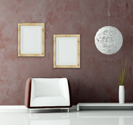 modern sofa and chandelier  before of a stucco wall with empty classic frame - rendering Stock Photo - 5184151