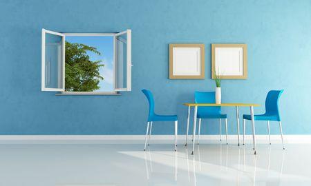 ventanas abiertas: azul moderno comedor con las ventanas abiertas-rendering