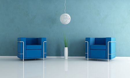 two blue velvet armchair and white chandelier -rendering Stock Photo - 5240192