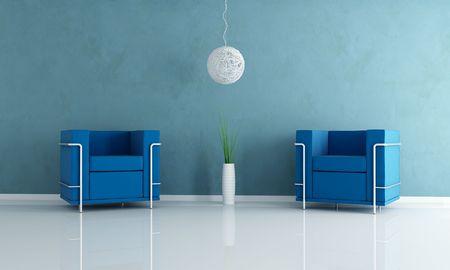 two blue velvet armchair and white chandelier -rendering Stock Photo - 5240192
