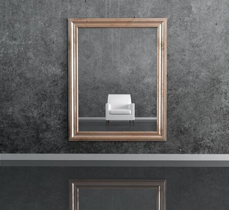 white leather armchair in the mirror in a grunge black living room-rendering Stock Photo - 5240204