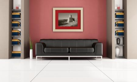brown leather sofa: divano in pelle marrone in un soggiorno con libreria e oro cornice - di rendering, la foto sul mio telaio � un immagine