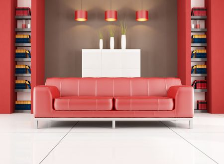 red leather sofa in a living room with bookshelf  - rendering, Stock Photo - 5283110