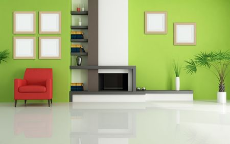 green living room with modern fireplace and red armchair - rendering Stock Photo - 5283105