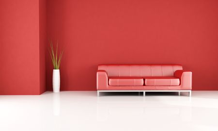 leren bank: rode en witte kamer met elegante lederen bank-rendering Stockfoto