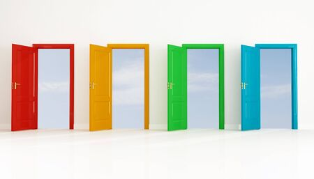 conceptual for many use, four colored open door against clear sky Stock Photo - 5345762