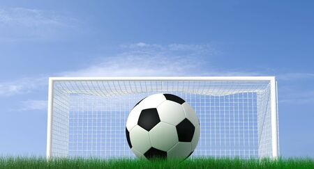 soccer goal:  shot of a soccer ball on a field - high resolution rendering Stock Photo