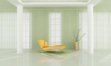 orange chaise long in a luxury living room -rendering photo
